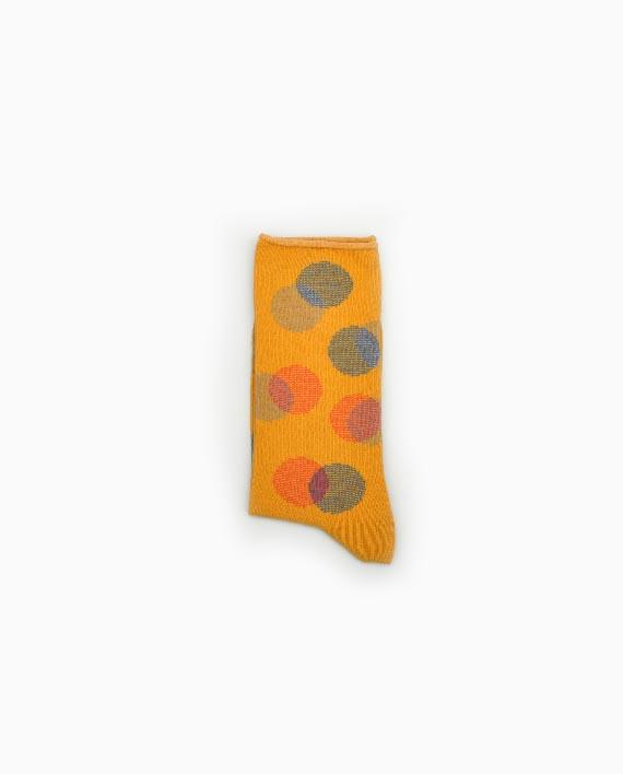 Gefaltete Socken in Senfgelb mit Punktemuster und Rollrand
