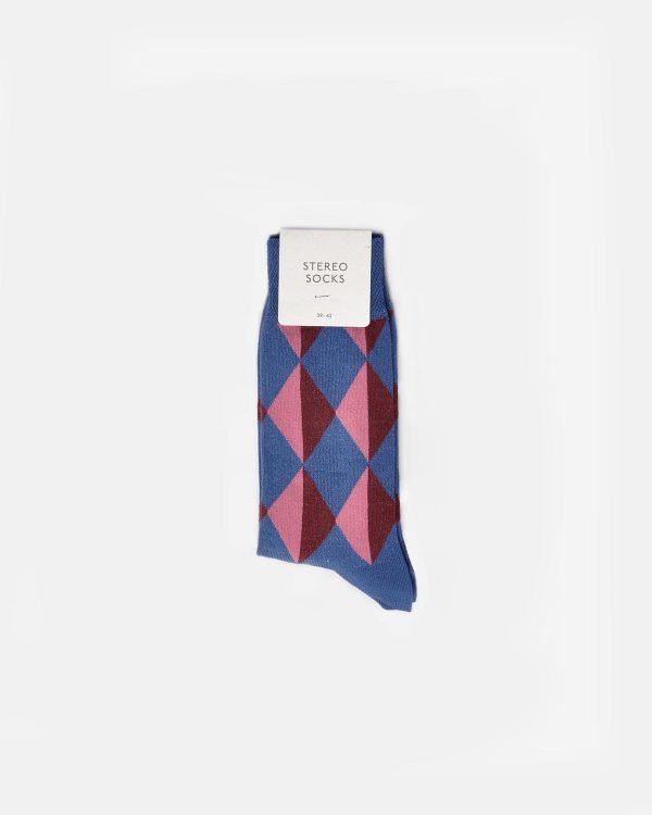 Socken mit farbigem Rautenmuster